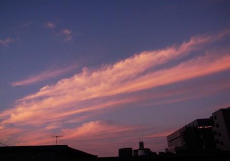 窓からみた夕焼け